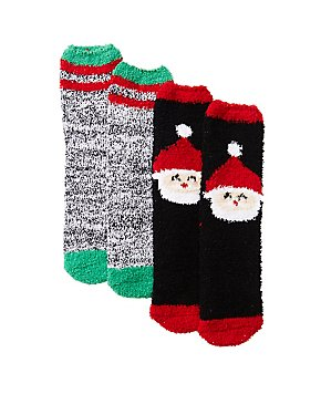 Holiday Santa Cozy Socks - 2 Pack