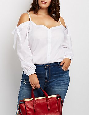 Plus Size Cold Shoulder Button-Up Top