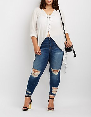 Plus Size Lace-Up High-Low Tunic Blouse