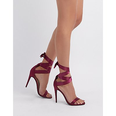 Satin & Grosgrain Ankle Wrap Sandals