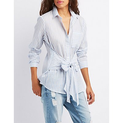 Striped Tie-Front Button-Up Top