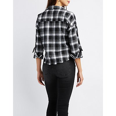 Destroyed Plaid Button-Up Shirt
