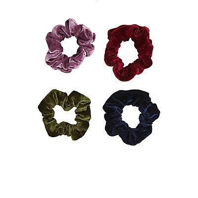 Velvet Hair Scrunchies - 4 Pack