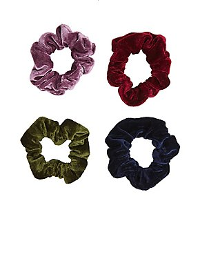 Velvet Hair Scrunchies - 4 Pack