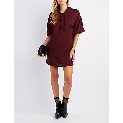 Balloon Sleeve Hooded Sweatshirt Dress