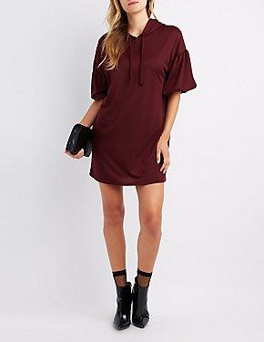 Balloon Sleeve Hooded Sweatshirt Dress
