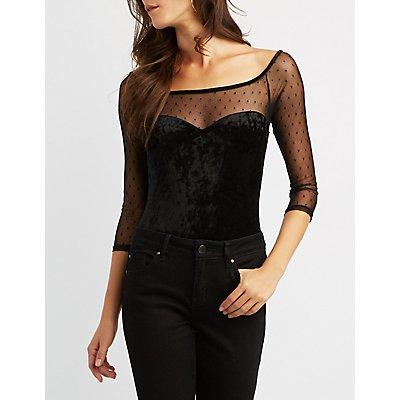 Crushed Velvet Long Sleeve Bodysuit