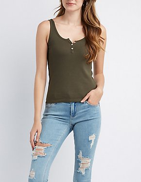 Button-Up Cami Tank Top