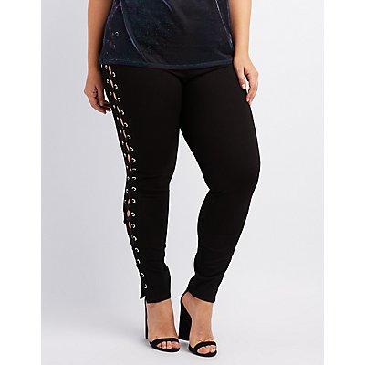 Plus Size Lace-Up Leggings