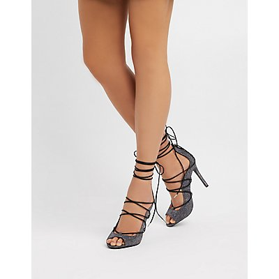 Glitter Lace-Up Dress Sandals
