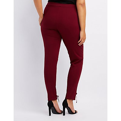 Plus Size Lace-Up Ponte Knit Leggings