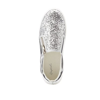 Qupid Glitter Zipper-Trim Slip-On Sneakers
