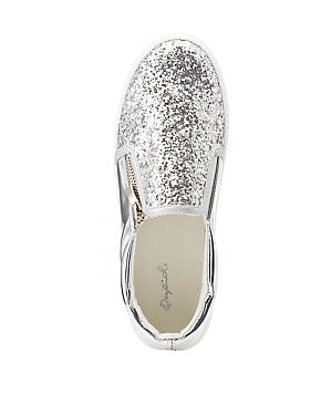 Qupid Glitter Zipper-Trim Slip-On Sneakers