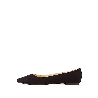 Qupid Faux Suede Pointed Toe Flats