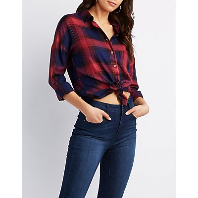 Plaid Button-Up High-Low Shirt