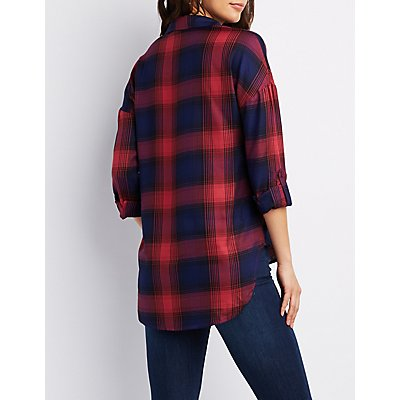Plaid Button-Up High-Low Shirt