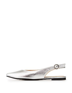 Qupid Metallic Pointed Toe Slingback Flats