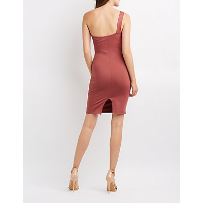 One Shoulder Notched Bodycon Dress