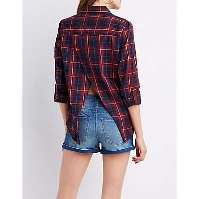 Plaid Fly Away Button-Up Top