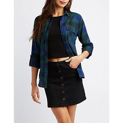 Plaid Button-Up Pocket Shirt