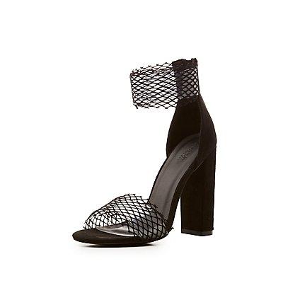 Fishnet PVC Ankle Strap Sandals