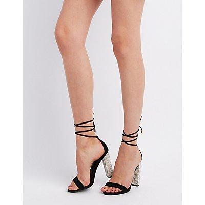Faux Suede Embellished Heel Lace-Up Sandals