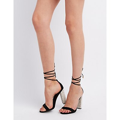 Faux Suede Embellished Heel Lace-Up Sandals