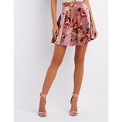 Floral Velvet Skater Skirt