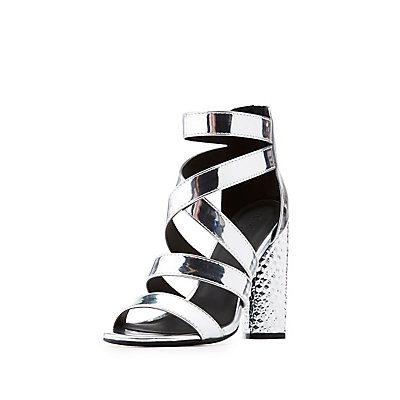 Metallic Strappy Caged Sandals