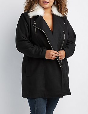 Plus Size Long Moto Faux Fur-Trim Coat
