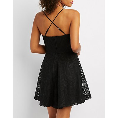 Notched Strappy Lace Skater Dress