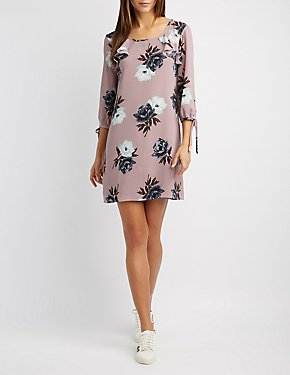Floral Ruffle-Trim Tie-Sleeve Skater Dress
