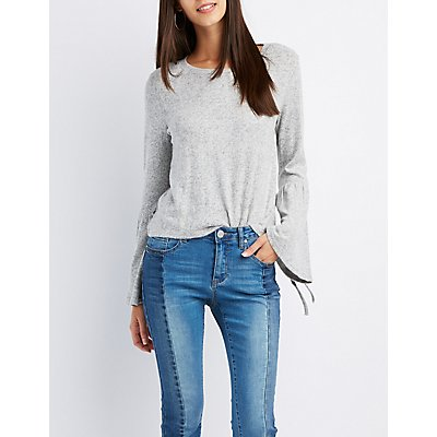 Scoop Neck Bell Sleeve Sweater