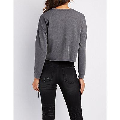 Don't Hate Distressed Sweatshirt