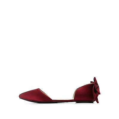 Bow-Trim Pointed Toe D'Orsay Flats