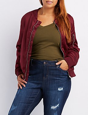 Plus Size Satin Bomber Jacket