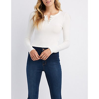 Ribbed Henley Crop Top