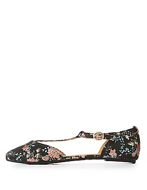 Floral Brocade T-Strap Pointed Toe Flats