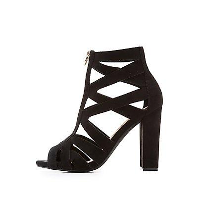 Wide Width Caged Zip-Front Sandals