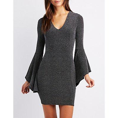 Bell Sleeve Bodycon Mini Dress