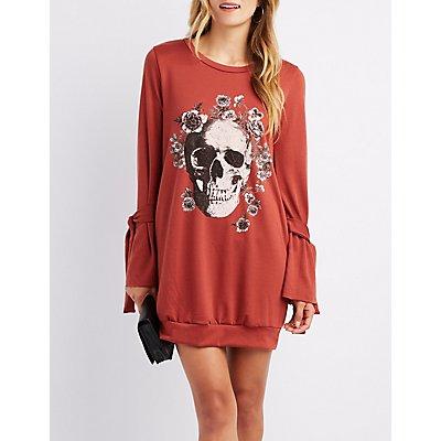 Skull Graphic Bell Tie-Sleeve Sweatshirt Dress