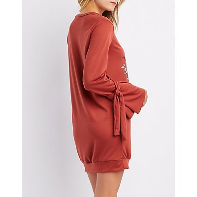 Skull Graphic Bell Tie-Sleeve Sweatshirt Dress