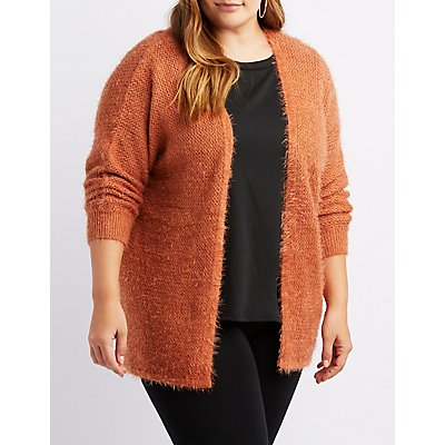 Plus Size Fuzzy Open Front Cardigan Sweater