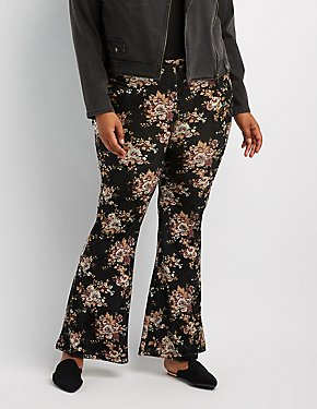 Plus Size Velvet Flare Pants