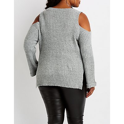Plus Size Ribbed Cold Shoulder Sweater