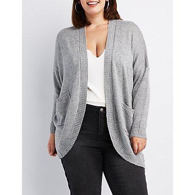 Plus Size Open-Front Boyfriend Cardigan