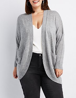 Plus Size Open-Front Boyfriend Cardigan