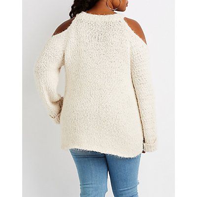 Plus Size Cold Shoulder Pullover Sweater