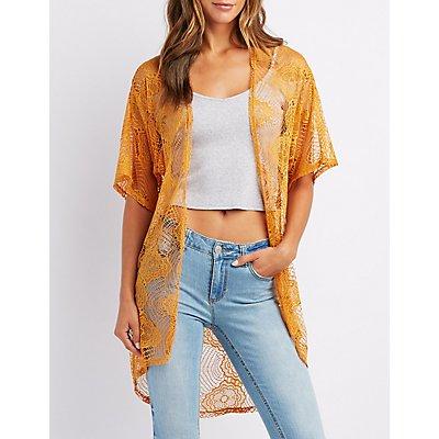 Crocheted Lace Open-Front Kimono