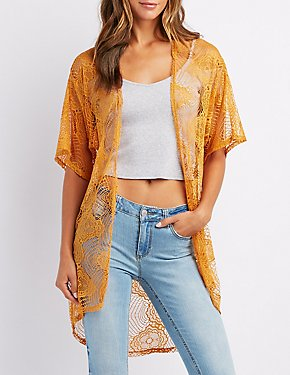 Crocheted Lace Open-Front Kimono